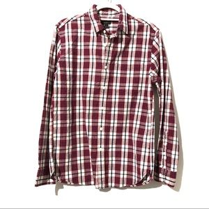 J. Crew Slub Cotton Shirt in Red Check
